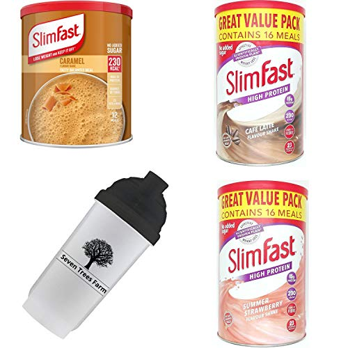 SlimFast KIT Made of 4 Products, High Protein Meal Replacements Shakes (Caramel 292g, Cafe Late 584g, Strawberry 584g), and 1 x Seven Trees Farm Shaker 700ml