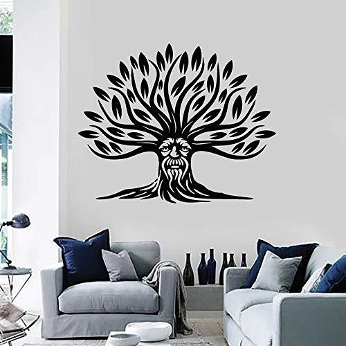 wZUN Pflanzenwand Aufkleber Alten Baum verlässt Natur abstraktes Gesicht kreative Vinyl Aufkleber Meditationsraum Innenraum 42X51cm
