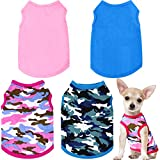 4 Pieces Camo Pet Shirts Camouflage Dog Sweatshirt Blank Puppy T-Shirt Comfortable Dog Shirt Breathable Dog Vest Durable Pet Clothes for Small Medium Dogs Cats (Large Size)