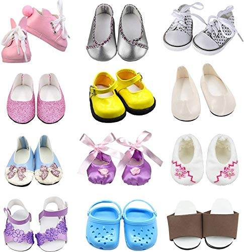 SOTOGO 12 Pairs of 18 Inch Doll Shoes Fits for 18 inch American Dolls Include Sandals Leather Shoes Ballet Shoes