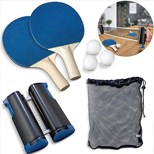 %57 OFF! 7-Piece Retractable Tabletop Tennis Game Set, with Retractable Net (Bracket Clamps), Balls,...