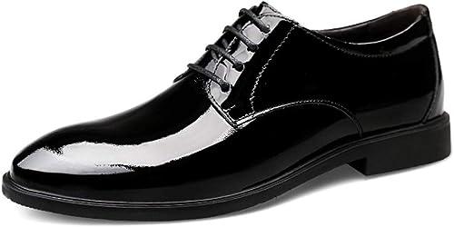 EGS-chaussures Chaussures Oxford pour Hommes. Chaussures Formelles à Lacets en Cuir Ox. Cuir d'affaires Confortable et Verni. Chaussures de Cricket (Couleur   Noir, Taille   45 EU)