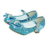 Holibanna Zapatos de Baile para niños Tacones de Gatito con Lentejuelas Brillantes Parte Superior Bailando Calabazas con Bowknot para niña Azul 18.2cm