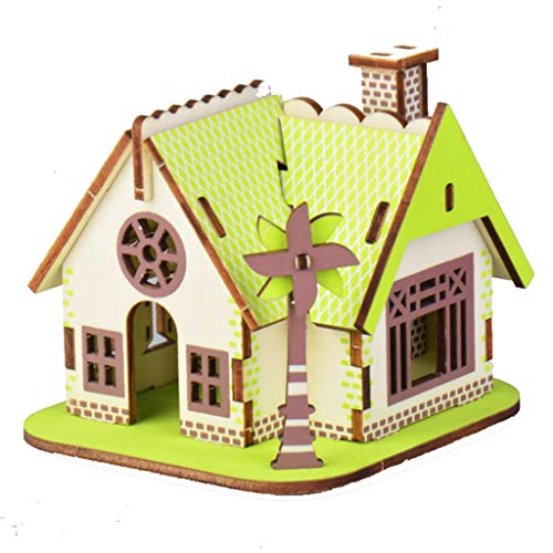 Wooden Puzzles for Kids, Jigsaw for Kids DIY Wooden Toys Parent-Child Handmade Toys No Glue Required,Best Birthday Present for Teens,Windmill Cottage