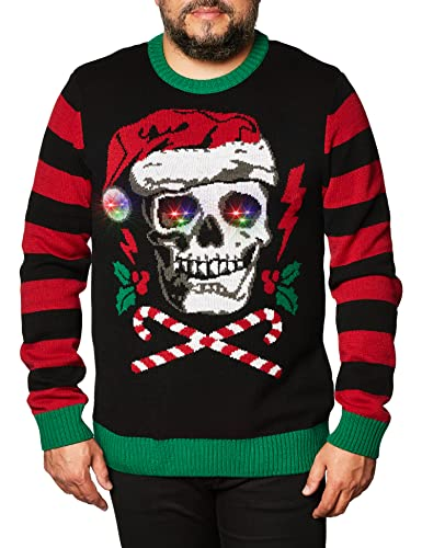 Ugly Christmas Sweater Company Men's Assorted Light-Up Xmas Crew Neck Sweaters with Multi-Colored LED Flashing Lights, Black Santa Skull, XL