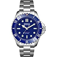 DEPTH CHARGE Mens 40mm Automatic Watch in Blue with Analogue Display, and Silver Stainless Steel Str...