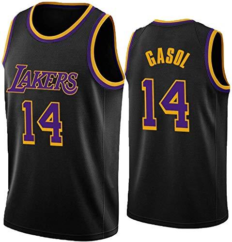 FEZBD Baloncesto Jersey Lakers # 14 Gasol Baloncesto Uniforme, Baloncesto Bordado Bordado Bordado Baloncesto Hombre Camiseta De Chaleco Deportivo,Negro,XL180~185cm