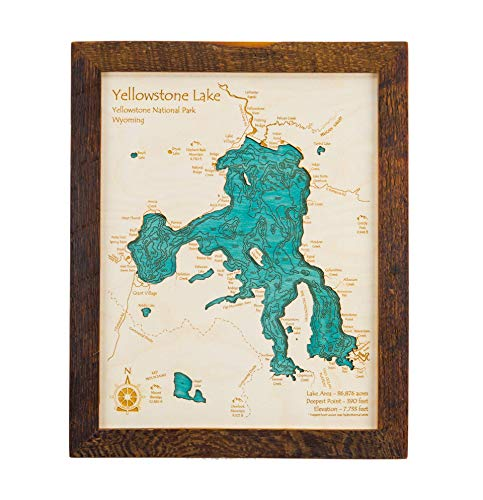 Sardis Lake - Panola County - MS - 2D Map 11 x 14 in (Brown Rustic Frame with Glass) - Laser Carved Wood Nautical Chart and Topographic Depth map.