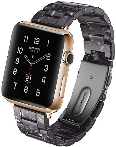 KAIMENG Resin Strap Compatible with Apple Watch Band 38mm /40mm 42mm/44mm Series 5/4/3/2/1 Women Men with Stainless Steel Buckle, Apple Watch Replacement Wristband Strap (Flash Black, 42mm/44mm)