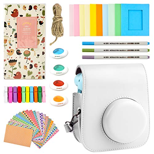 Case & Accessories Compatible with Fujifilm Instax Mini 11 Instant Polaroid Film Camera, Bundle Pack Include Albums, Shoulder Strap&Other Accessories. (white)