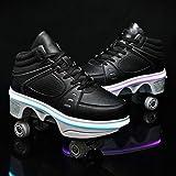 XRDSHY Patines De Ruedas Niños Chicos Zapatos con Ruedas Zapatilla para Correr Al Aire Libre con Luces LED Zapatillas De Fitness Zapato Deformado 2 En 1,Black-37