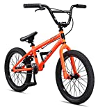 Mongoose Legion Mag Freestyle Sidewalk BMX Bike for-Kids,-Children and Beginner-Level to Advanced Riders, 20-inch Wheels, Hi-Ten Steel Frame, Micro Drive 25x9T BMX Gearing, Orange