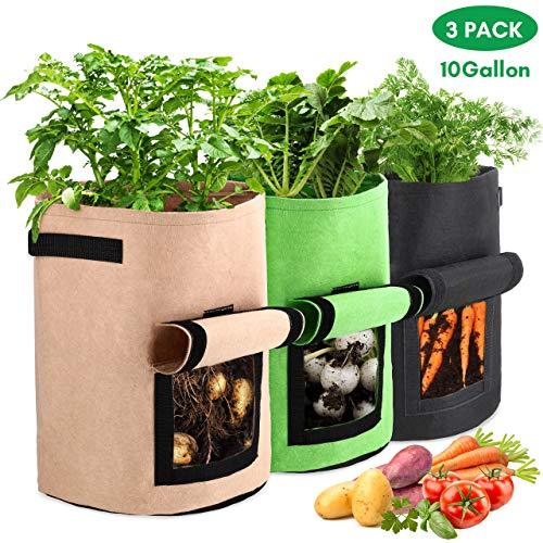 Bearbro Pflanzen Tasche 10 Gallonen,3 Stück Kartoffel Pflanzsack, mit Griffen und Sichtfenster Klettverschluss,dauerhaft AtmungsaktivBeutel Gemüse Grow Bag Pflanztasche
