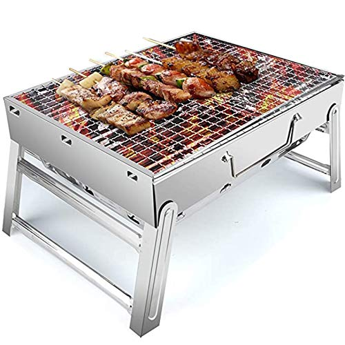 Jeseca BBQ Grill, Stainless Steel Barbecue Grill With Stand, Foldable And Portable Outdoor Charcoal Bbq, Suitable For 5-10 People (Color : Silver)
