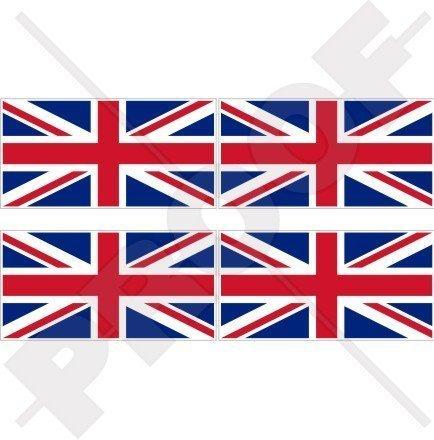 BRITISCHE UNION JACK Flagge Großbritannien UK 50mm Auto & Motorrad Aufkleber, x4 Vinyl Stickers