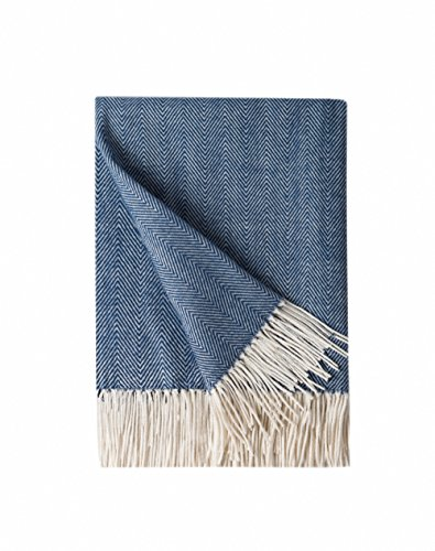 Bourina Decorative Herringbone Faux Cashmere Fringe Throw Blanket Lightweight Soft Cozy for Bed or Sofa Farmhouse Outdoor Throw Blankets, 50' x 60', Navy