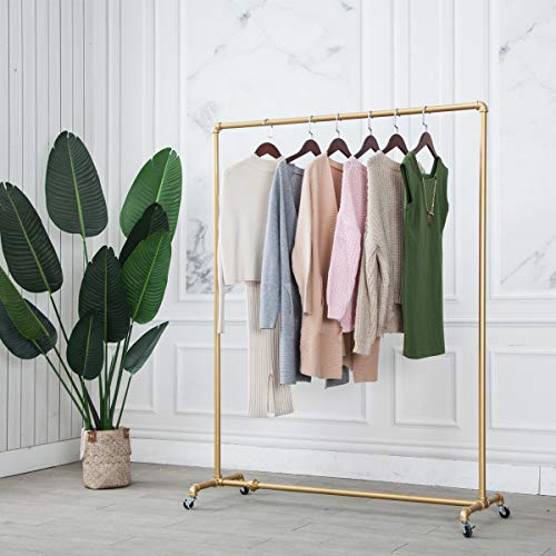 Gold1Pipe47Wx63Tx16DIndustrial Pipe Clothing RackVintage Commercial Grade Pipe Clothes RacksRolling Rack for Hanging Clothes Retail DisplayHeavy Duty Steampunk Iron Ballet Garment Racks