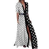 Cinnamou_mujer Maxi Vestidos Lunares, Pachecolor Largo Vestido de Mujer Verano 2018 Elegantes Tunica para Boda Fiesta (Blanco, XL)