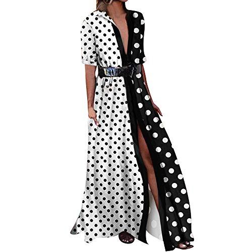 Cinnamou_mujer Maxi Vestidos Lunares  Pachecolor Largo Vestido de Mujer Verano 2018 Elegantes Tunica para Boda Fiesta (Blanco  XL)