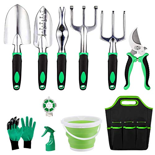 Ulike Gardening Tools Set for Womens, Heavy Duty Garden Tools Kits with Bag, Gardening Tools & Accessories 11 Pieces