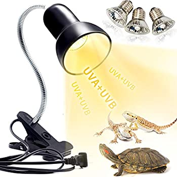 Reptile Heat Lamp UVA UVB Reptile Light Basking Spot Lamp Turtle Aquarium Tank Heating Lamps Holder & Switch Fixture for Aquatic Turtles Tortoise Snake Lizards Terrarium Amphibian with 3 Heat Bulbs