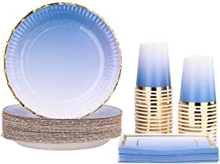 Ottin Ombre Royal Blue Paper Plates and Napkins Set 50-counts Include Disposable Party Napkins/Cups/Plates Party Supplies for Birthday Wedding Graduations Celebration New Year Thanksgiving Christmas