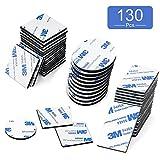 O-Kinee 130 Piezas Pad Adhesivo, Espuma Adhesiva de Doble Cara Cinta Adhesiva Fuerte de Montaje, Rectángulo Cuadrado y Redondo (Negro)