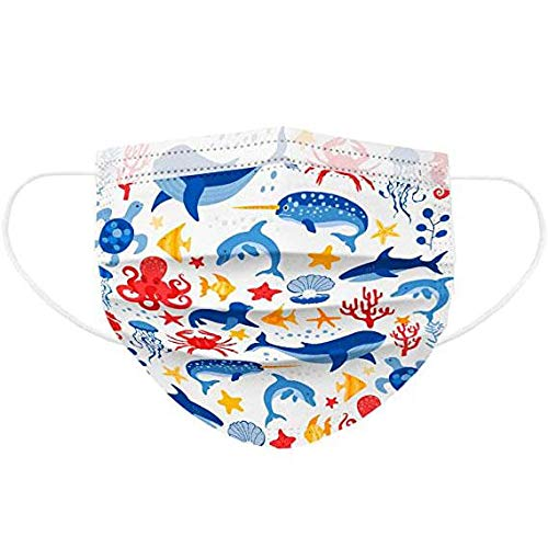 Deinaty 50 piezas desechables para niños con tela de fundición + tela de punlace Marine Fife patrón para niños