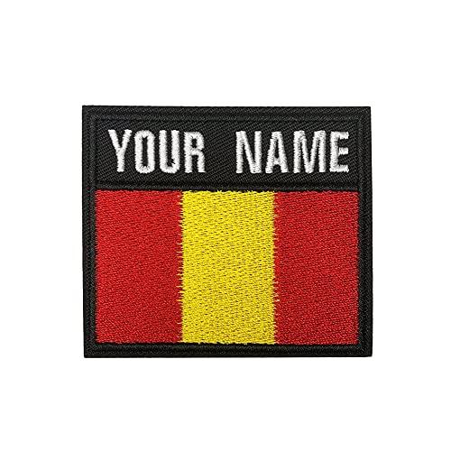 Parche de nombre militar personalizado, etiqueta de número de bordado personalizado, parche de nombre de gancho de bandera de España para varias bolsas de ropa Chaleco Chaquetas Camisas de trabajo