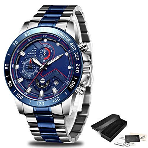 ZTT Herrenuhren Luxuxedelstahl Blaue wasserdichte Quarz-Uhr-Mann-Mode-Chronograph Male Sport Military Watch,E