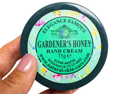 Gardeners Honey Crema de manos de 75 g como recomendado por BBC Gardeners World hecho a mano por Elegance Natural Skin Care Multi Award Winning.