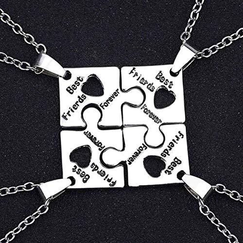 xiaoyamyi Preferido Mejor Amigo Llavero, 4 Piezas Amigo Collar Juego Puzzle Estampado a Mano Amistad Cadena Joyería - 1 Set