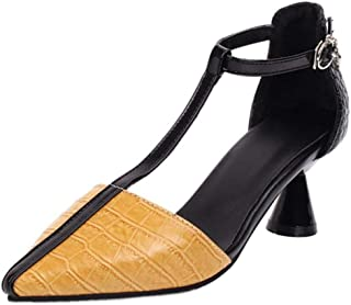 TAOFFEN Women Fashion Mid Heel Pumps T Strap