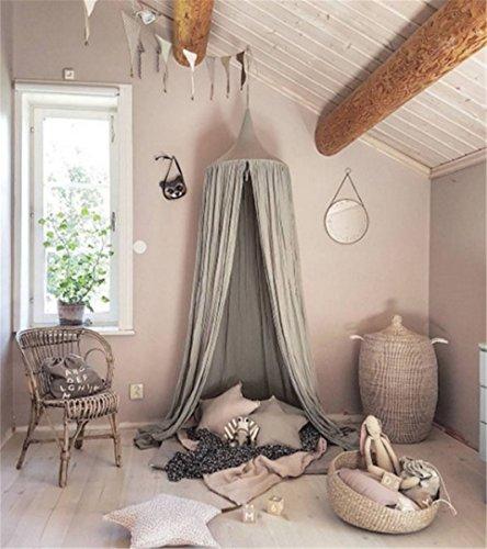Kopuła księżniczka łóżko baldachim, bawełniana moskitiera dla dzieci zabawa namiot zasłony dekoracja pokoju dla dziecka wewnątrz na zewnątrz zabawa wysokość czytania 240 cm (szary)