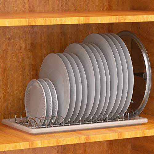 SimpleHouseware Plate Drying Rack with Drainboard, Chrome