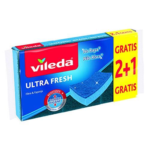 Vileda – Set de 3 estropajos fibra UltraFresh No Raya con tratamiento antibacterias, tamaño 21 x 11.5 x 2.7 cm, 3 unidades