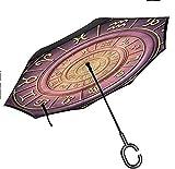 Dliuxf Decoración Astrología Paraguas invertido Antiguo Horóscopo de Praga para la Lluvia del Coche Uso al Aire Libre Paraguas Anti-UV a Prueba de Viento -K1525