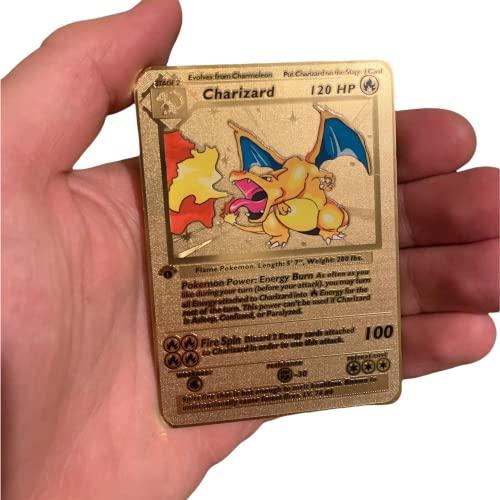 RULY Pokemon Charizard - Juego de cartas coleccionables de metal dorado