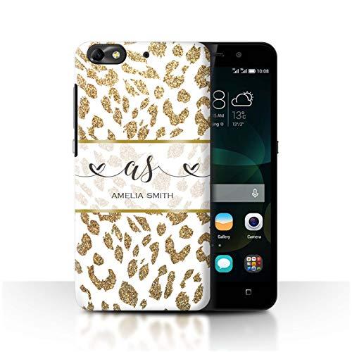 eSwish Personalisiert Individuell Mode Tierdruck Muster Hülle für Huawei G Play Mini/Gold Glitter Leopard Design/Initiale/Name/Text Schutzhülle/Case/Etui