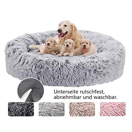Hundebett Donut Katzenbett Hundesofa Katzenkissen Haustierbett Flauschig Waschbar für Grosse Mittel Hunde und Katzen- Grau Ø 100cm