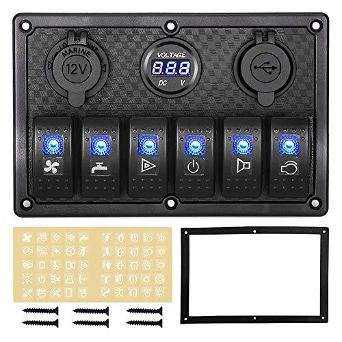 HomdMarket 6 Gang Wasserdichte Wippschalter-Panel 12 V/24 V Digital Voltage Display, Dual 5 V USB Ladegerät Buchse für Wohnmobil Boote Autos Motorhaus