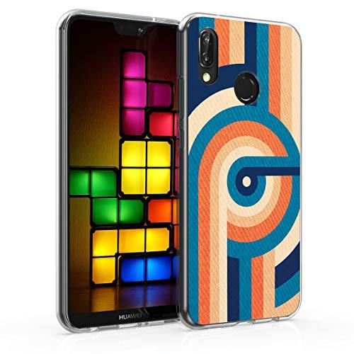 kwmobile Funda Compatible con Huawei P20 Lite - Carcasa de TPU y Curvas Retro en Azul/Naranja/Azul Oscuro