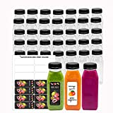 Empty PET Plastic Juice Bottles - Pack of 35 Reusable Clear Disposable Milk Bulk Containers with Labels and Tamper Evident Caps (8 OZ, Black)
