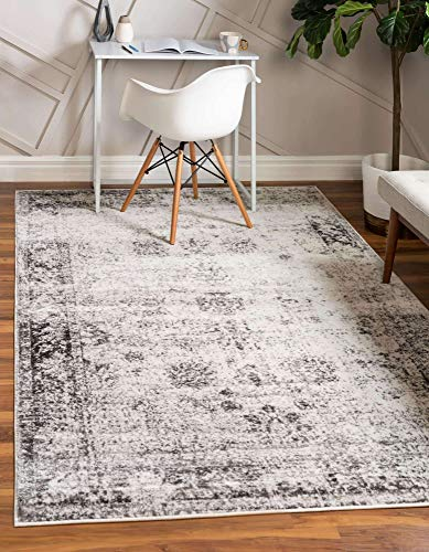 Unique Loom Sofia Collection Traditional Vintage Area Rug, 9' x 12', Gray/Ivory