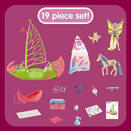 Schleich bayala, 19-Piece Playset, Fairy Toys for Girls and Boys 5-12 years old, Sera's Magical Flower Boat