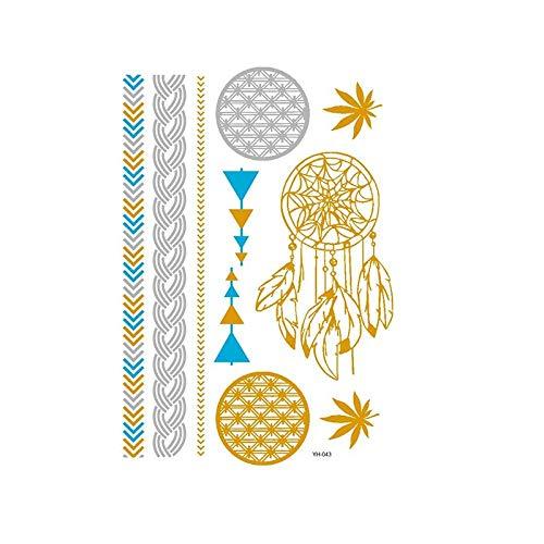 Autocollants de tatouage bronzage rétro autocollants de tatouage imperméables ensemble autocollants d'impression de couleur argent chaud-YH-043_148 * 210MM
