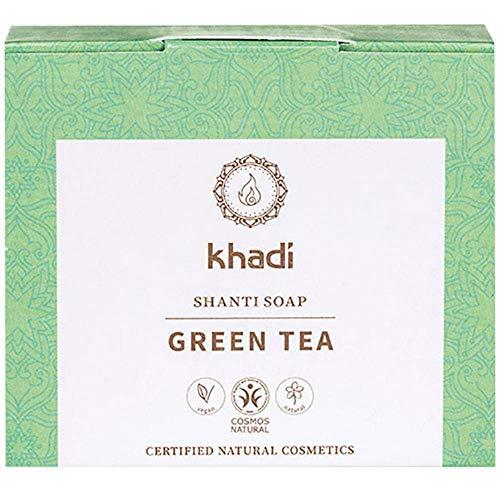 khadi Shanti Soap Green Tea 100 gr I Naturseife mit pflegendem Traubenöl, grünem Tee und Aloe Vera I Naturkosmetik 100% pflanzlich und vegan