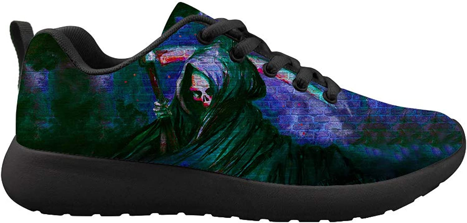 Owaheson Cushioning Sneaker Trail Running shoes Mens Womens View of Skull Grim Reaper's Back
