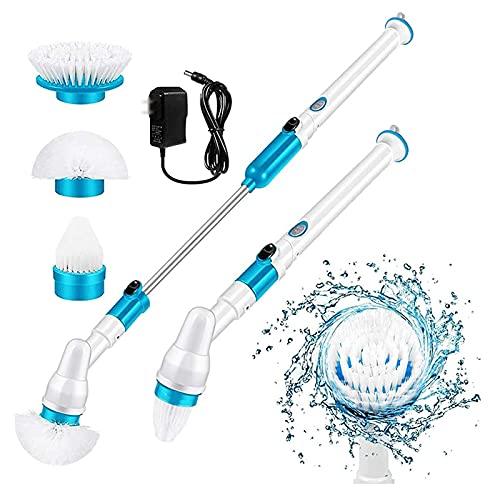 LTLWSH Depurador de Suelo eléctrico con 6 Cabezales de Cepillo de Limpieza reemplazables, Cepillo de Limpieza de Cepillo de Ducha Giratorio para Suelo, baño, Cocina