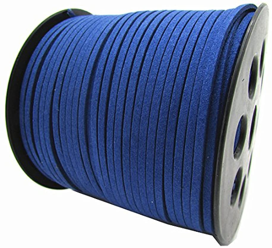 100 Yards Jewelry Making Flat Micro Fiber Lace Faux Suede Leather Cord (12 Colors) (Blue)